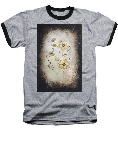 Poppies On Black Baseball T-Shirt
