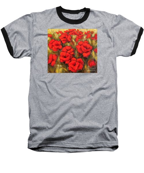 Poppies Passion Fragment Baseball T-Shirt
