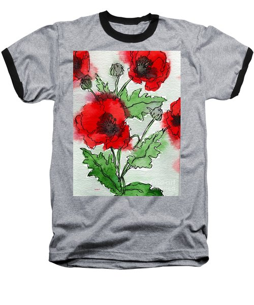 Watercolor Poppies Baseball T-Shirt