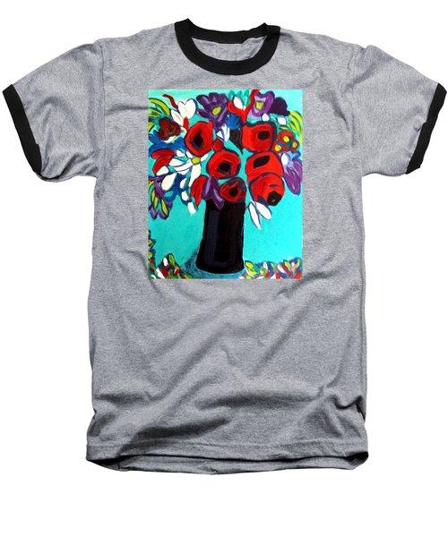 Poppies Red Baseball T-Shirt