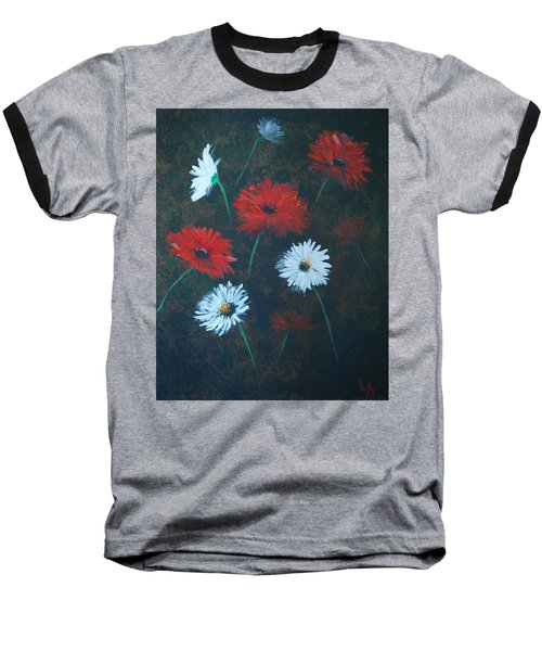 Baseball T-Shirt featuring the painting Poppin Daisies by Leslie Allen