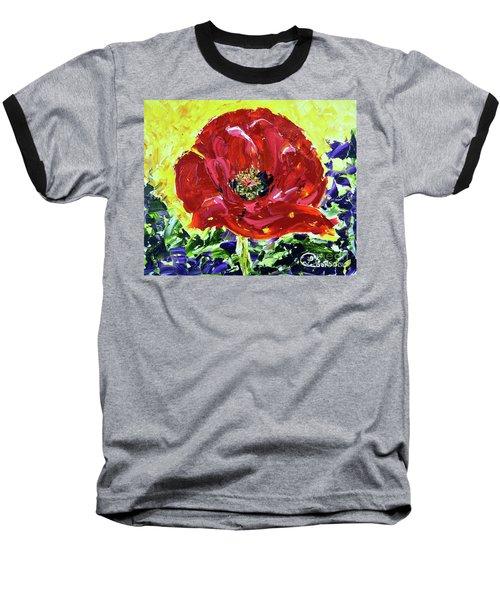 Poppy Amongst Lavender Baseball T-Shirt by Lynda Cookson