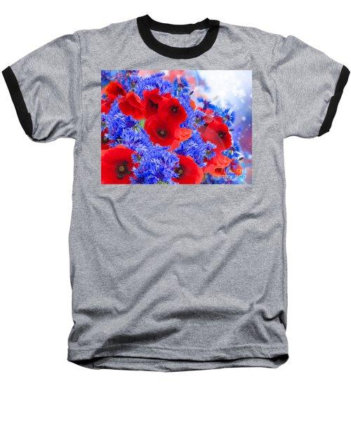 Poppy And Cornflower Flowers Baseball T-Shirt