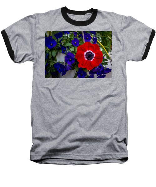 Poppy And Pansies Baseball T-Shirt
