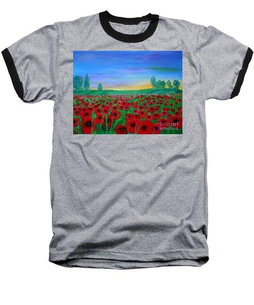 Poppy Field At Sunset Baseball T-Shirt