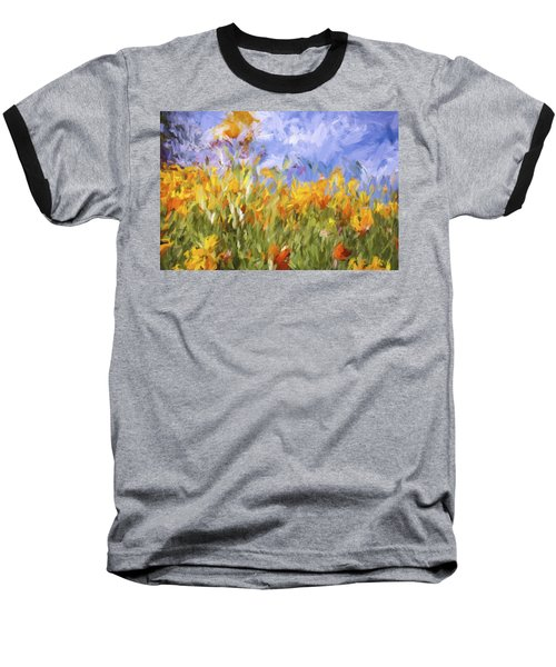 Poppy Field Baseball T-Shirt by Bonnie Bruno