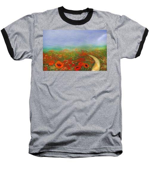 Poppy Field Impressions Baseball T-Shirt