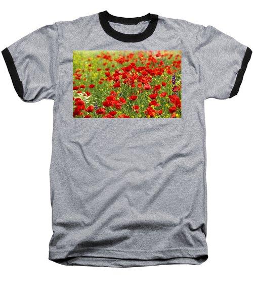 Poppy Field Baseball T-Shirt by Thomas M Pikolin