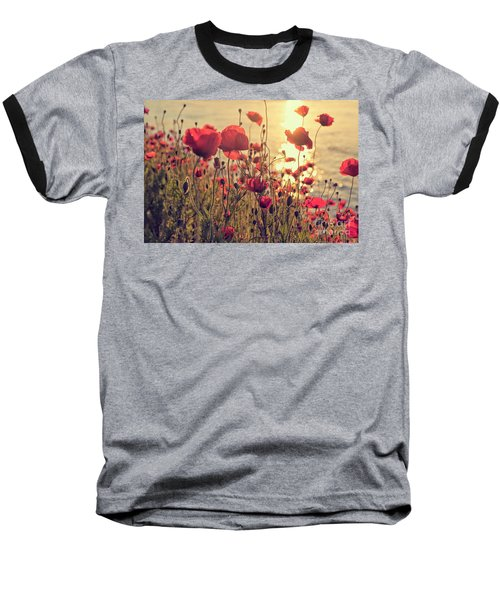 Poppy Flowers At Sunset Baseball T-Shirt