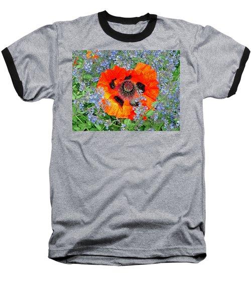Poppy In Blue Baseball T-Shirt