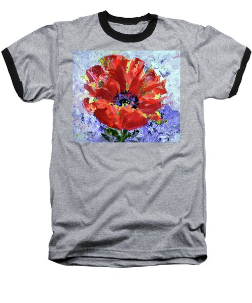 Poppy In Fields Of Lavender Baseball T-Shirt