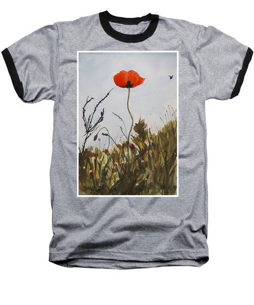 Poppy On The Field Baseball T-Shirt by Manuela Constantin