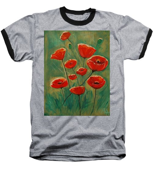Baseball T-Shirt featuring the painting Poppy Surprise by Leslie Allen