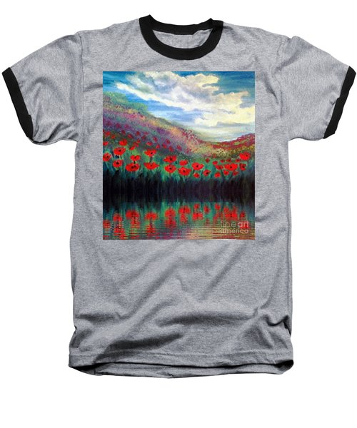 Baseball T-Shirt featuring the painting Poppy Wonderland by Holly Martinson