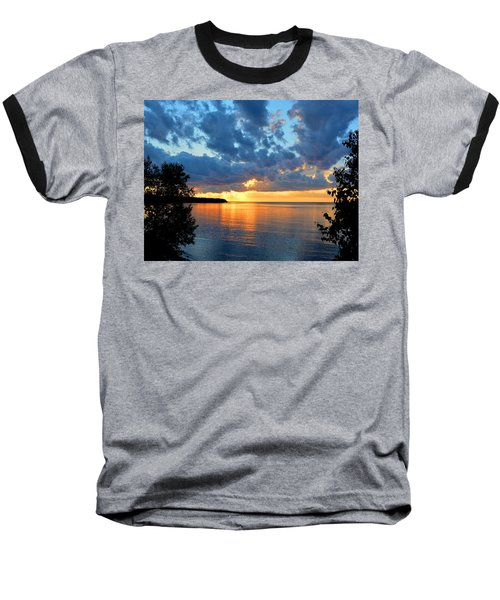 Porcupine Mountains Sunset Baseball T-Shirt by Keith Stokes