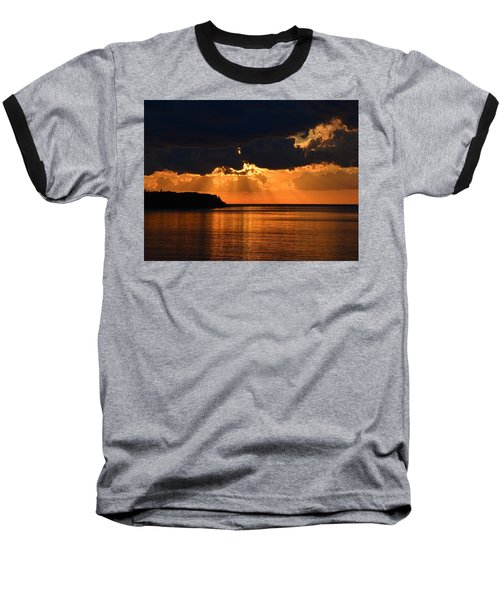 Porcupine Mountains Superior Sunset Baseball T-Shirt by Keith Stokes