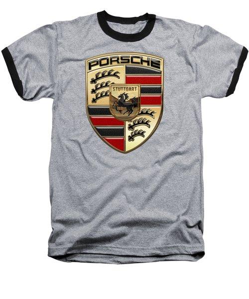 Porsche - 3d Badge On Yellow Baseball T-Shirt by Serge Averbukh