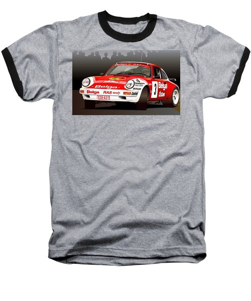 Porsche 911 Rally Illustration Baseball T-Shirt