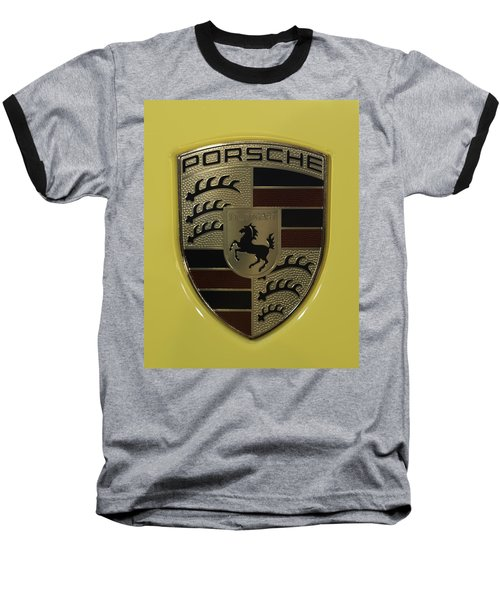 Porsche Emblem On Racing Yellow Baseball T-Shirt