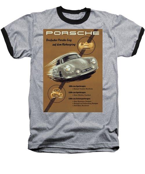 Porsche Nurburgring 1950s Vintage Poster Baseball T-Shirt