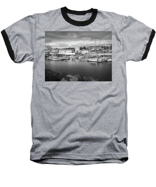 Port Of Angra Do Heroismo, Terceira Island, The Azores In Black And White Baseball T-Shirt by Kelly Hazel