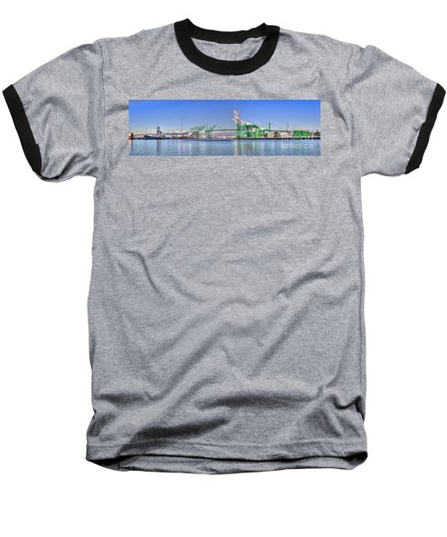 Port Of Los Angeles - Panoramic Baseball T-Shirt by Jim Carrell