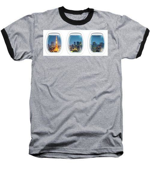 Porthole Frame On Tokyo Tower Baseball T-Shirt