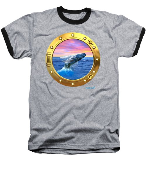 Porthole View Of Breaching Whale Baseball T-Shirt by Glenn Holbrook