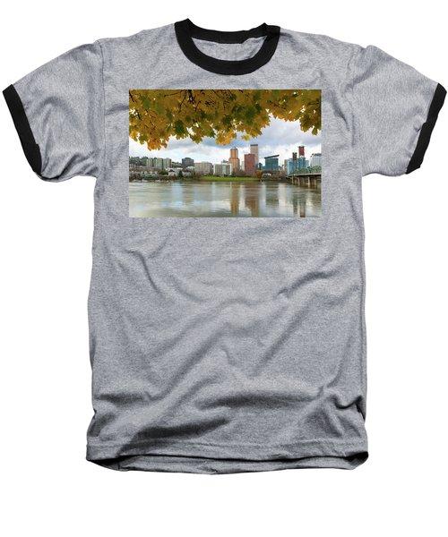 Portland City Skyline Under Fall Foliage Baseball T-Shirt