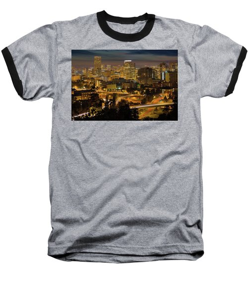 Portland Downtown Cityscape And Freeway At Night Baseball T-Shirt