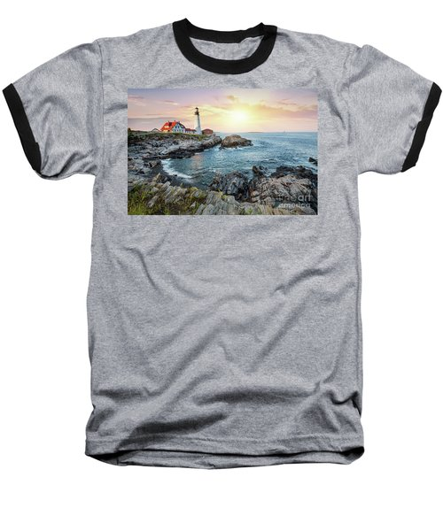 Portland Head Light At Dusk Baseball T-Shirt