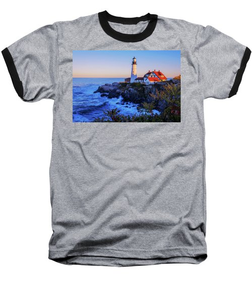 Portland Head Light II Baseball T-Shirt by Chad Dutson