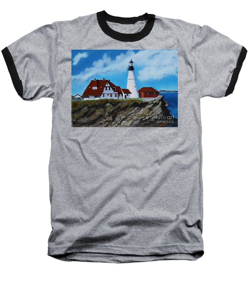 Portland Head Light In Maine Viewed From The South Baseball T-Shirt