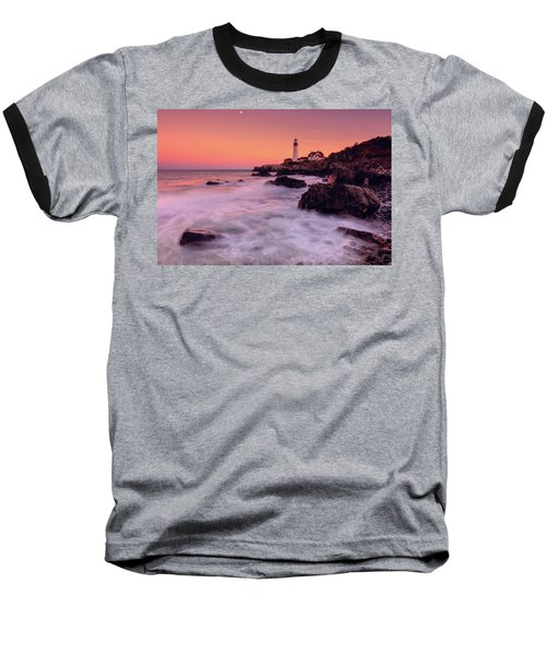Baseball T-Shirt featuring the photograph Portland Head Light In Pink  by Emmanuel Panagiotakis