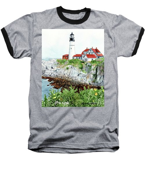 Portland Head Light, Lighthouse Painting, Lighthouse Print, Maine Lighthouse, Baseball T-Shirt