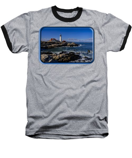 Portland Head Light No.32 Baseball T-Shirt by Mark Myhaver
