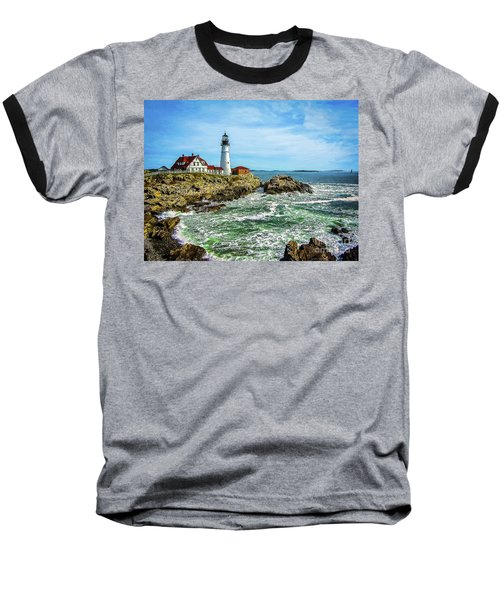 Portland Head Light - Oldest Lighthouse In Maine Baseball T-Shirt