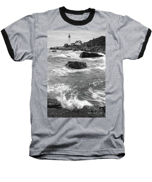 Portland Head Light Under Heavy Skies  -88356 Baseball T-Shirt by John Bald