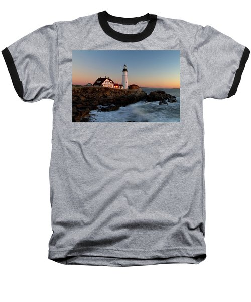 Portland Head Lighthouse Sunrise Baseball T-Shirt