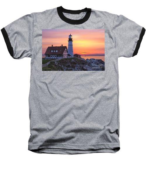 Portland Head Lighthouse Sunrise Baseball T-Shirt