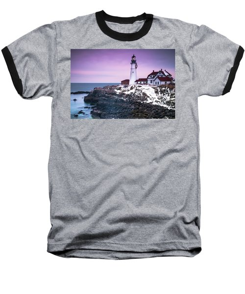 Maine Portland Headlight Lighthouse In Winter Snow Baseball T-Shirt