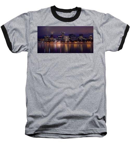 Portland Night Skyline Baseball T-Shirt by Joseph Skompski