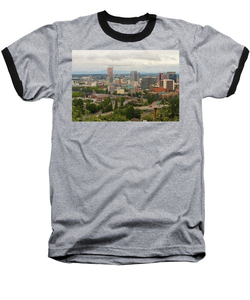 Portland Oregon Downtown Cityscape By Freeway Baseball T-Shirt