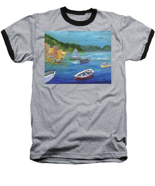 Baseball T-Shirt featuring the painting Portofino, Italy by Jamie Frier