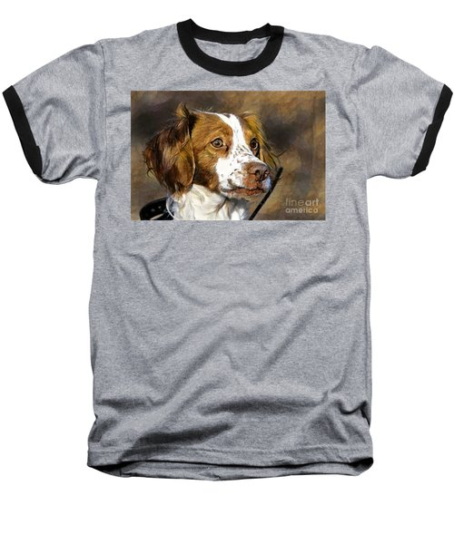 Baseball T-Shirt featuring the photograph Portrait Of A Brittany - D009983-a by Daniel Dempster