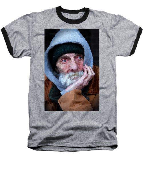 Portrait Of A Homeless Man Baseball T-Shirt