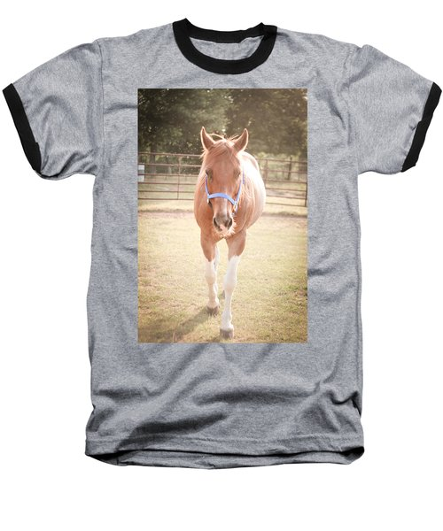 Portrait Of A Light Brown Horse In A Pasture Baseball T-Shirt