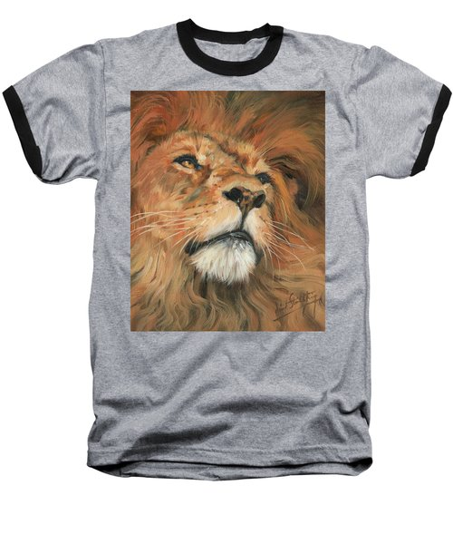 Portrait Of A Lion Baseball T-Shirt by David Stribbling