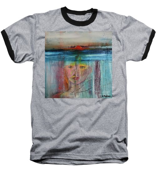 Baseball T-Shirt featuring the painting Portrait Of A Refugee by Kim Nelson