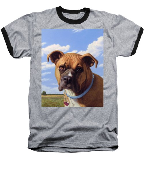 Baseball T-Shirt featuring the painting Portrait Of A Sweet Boxer by James W Johnson